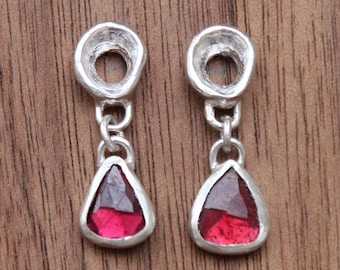 Organic Loops with Garnet Drops, sterling silver