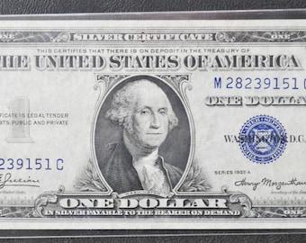 1935 A 1 Silver Certificate One Dollar M28239151C Fr1608 AU