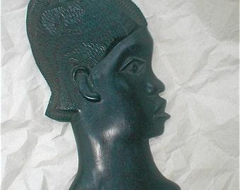 African Iron Wood Carving - Portrait Profile - Hand Carved - Africa Souvenir - Folk Art African Handiwork