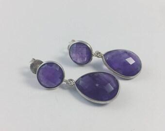 Single drop Amethyst Earrings