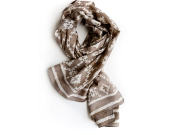 Taupe Scarf Aztec SAMPLE SALE Geometric taupe neutral brown beige Spring Women Scarf, Cotton Silk wrap, gift for her accessories - Aztec