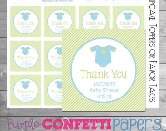 Personalized Baby Onsie Blue & Green Printable Baby Shower Custom Cupcake Toppers, Favor Tags, Thank You, Stickers - DIY