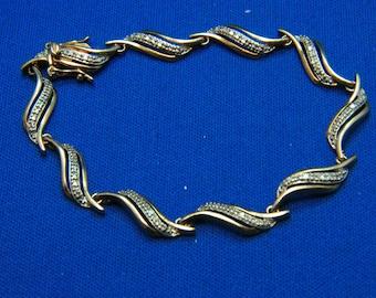 Vintage Sterling Silver Gold Vermeil Two Tone Diamond Cut Curve Link Bracelet