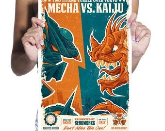 Mecha Vs. Kaiju print- kaiju- robots, mechs- manga- anime- Pacific Rim- Godzilla- boxing poster- gifts for geeks- sci-fi- vintage wall art