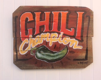 Chili cook-off winner w/  chili pepper painting. Handpainted Tex Mex art on old wood. Great gift for Dad on Father's day.
