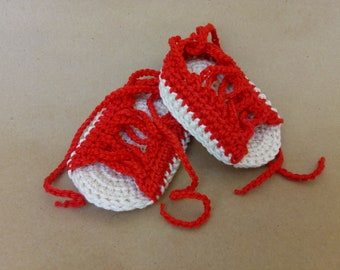 Baby gladiator Shoes, Baby Gladiator Sandals, Crochet Baby Shoes, Red Baby Shoes, Newborn shoes, Crochet newborn shoes, Cotton Baby Shoes
