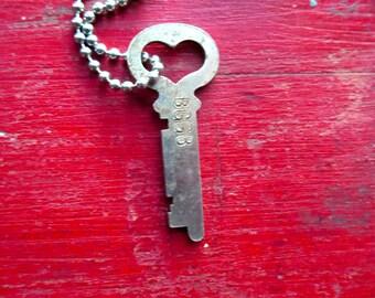 Heart skeleton key Antique skeleton key Old skeleton key Old rustic key Primitive key Jewelry key Skelton key Heart  key Valentine's Day #4