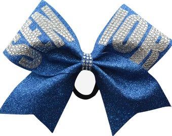 Senior Rhinestone Columbia Blue Glitter Cheer Bow
