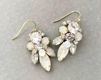 White Opal Bridal Earrings- White Opal Rhinestone Earrings- White Wedding Earrings- Bespoke Bridal Earrings- Swarovski Crystal Drop Earrings