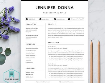 """Resume Template   Professional Resume Template for Word   CV Resume + Cover Letter   4 Page Pack   Instant Download Resume   """"Jennifer"""""""