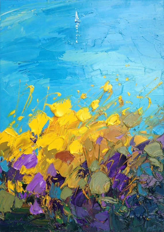 Sea painting yellow flowers painting sailing painting seascape like this item mightylinksfo