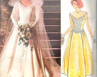 """Vintage 1986 Vogue 1677 Bridal Original Bridal Dress Sewing Pattern Size 6 Bust 30 1/2"""""""