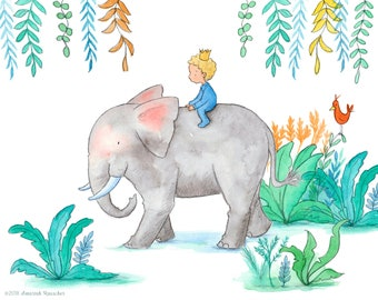 Safari - Curly Blond Boy Riding Lion - Art Print - Children