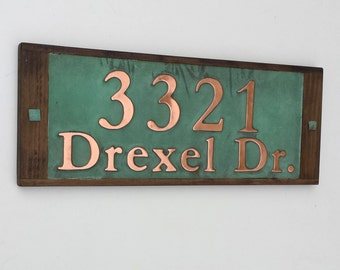 "Copper Address Plaque with oak frame, 3"" numbers and 2"" letters in Garamond, polished/laquered and patinated e"