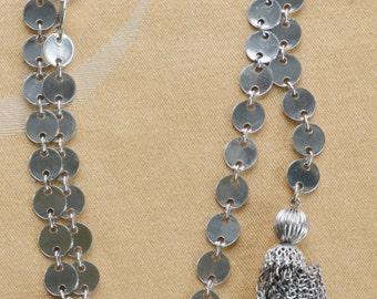 "Pretty Vintage Silver tone Tassel Lariat Necklace, 43"" (X14)"