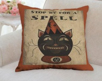 Stop By for a Spell Halloween Pillow