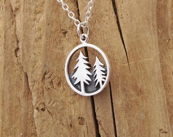 Sterling Silver Mountain Pine Tree Charm Forest Necklace Camping Travel