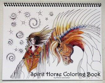 Adult coloring book, Spirit, Horse, coloring books, horses, spiral bound, equine, horse gift