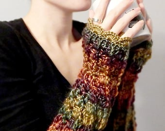 Ombre Lacy Crochet Fingerless Gloves