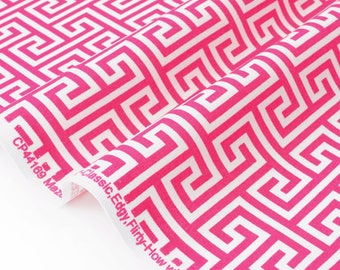 Fabric pink geometric patchwork pattern American White x 50cm