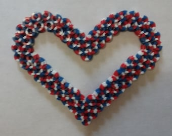 Red White and Blue heart made by me with perler beads, keychain or decoration.