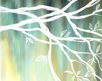 DIGITAL DOWNLOAD - Original tree painting available for digital download - Black, turquoise aqua blue, yellow & white - high resolution jpg