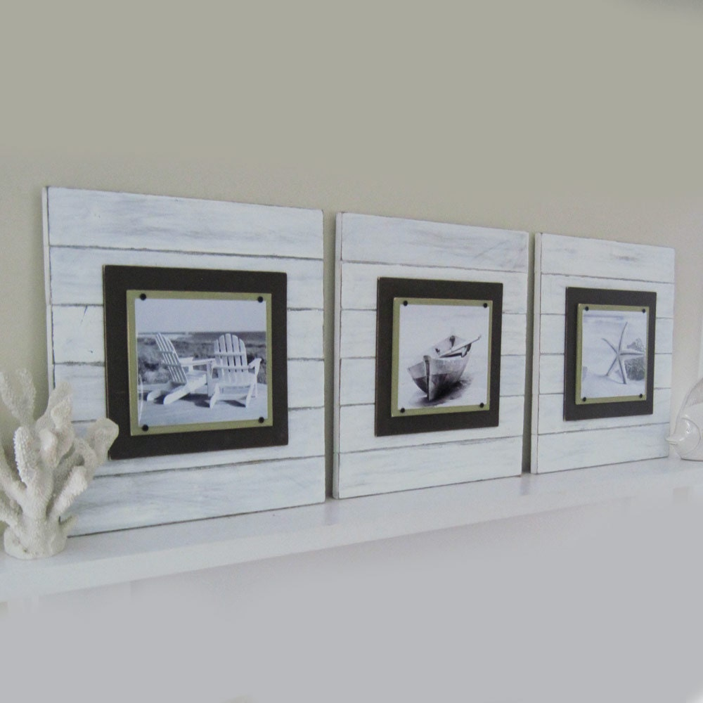 Set of 3 X-tra Large White Distressed 21x21 Plank Frame for
