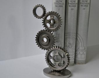 Steel Gear Sculpture, Motorcycle Gear Art, Industrial Design Decor, Fathers Day Gift, Masculine Decor, Office Decor