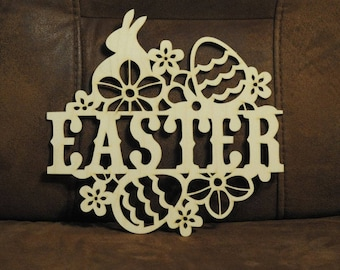 Easter door hanging, Easter wall hanging, Easter window hanging. Wooden Easter Wreath. Easter decoration. Easter ornament