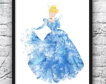 Princess Cinderella Watercolor Print, Disney Art, Movie Poster, Fairy Tale, Blue, Wall Art, Home Decor, Kids Room Decor, Nursery Art - 446