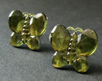 Olive Green Butterfly Earrings. Olive Green Earrings. Silver Stud Earrings. Post Earrings. Handmade Earrings. Handmade Jewelry.