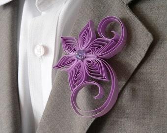 Lilac Boutonniere, Lilac Buttonhole, Light Purple Wedding Boutonniere, Boutonniere for Wedding, Violet Tulip Wedding