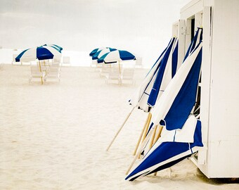 Beach Umbrellas Print, Blue and White Photo, Beach Print, Coastal Home Decor, Large Wall Art, Nautical Photography