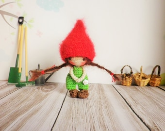 Very very thin, 7cm, my creation, Minimy crochet doll, Pixie and art collections, decoration, toy