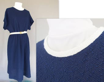 Navy Blue Dress, Vintage 1960's Mod Summer Boucle Dress by Leslie Pomer, Modern Size 18, Extra Large