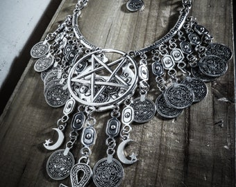 Tribal silver necklace Ankh 666 666