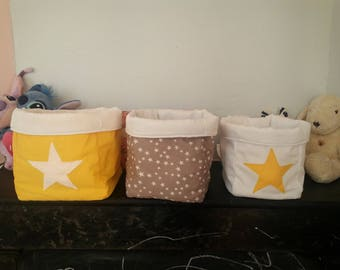 """set of 3 baskets reversible """"head in the stars"""""""