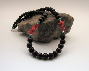 Wood, Red Cupolini, Magnesite and Sterling Silver Necklace