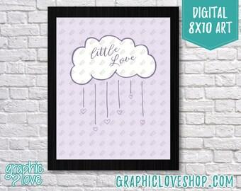 Printable 8x10 Light Purple Baby Girl Little Love Cloud Digital Nursery Art Print | High Res JPG File, Instant Download, Ready to Print