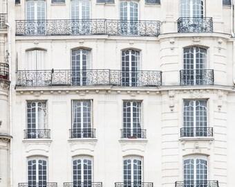 Paris Architecture Photograph - Apartments on Ile de la Cite, Travel Photography, Large Wall Art, Neutral French Home Decor, Fine Art Photo
