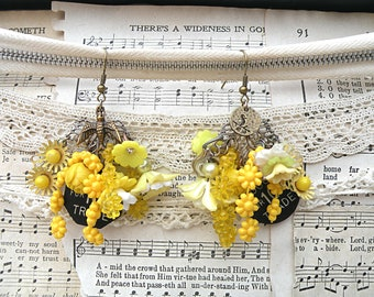daffodil earrings spring assemblage chandelier charm floral dangles upcycle cottage chic romantic