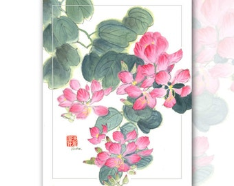 "Watercolor Chinese Brush Painting Cards  ""lilly"""