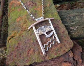 Moon Over Blacklodge - Artscape Pendant Necklace in Sterling Silver, Mokume, Gold