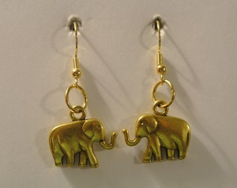 Gold Elephant Earrings with Gold Fishhook