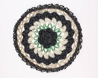 50's Crochet Doily, Small Round Mat Pot Holder, Silver Sparkle, Black, Green & Cream