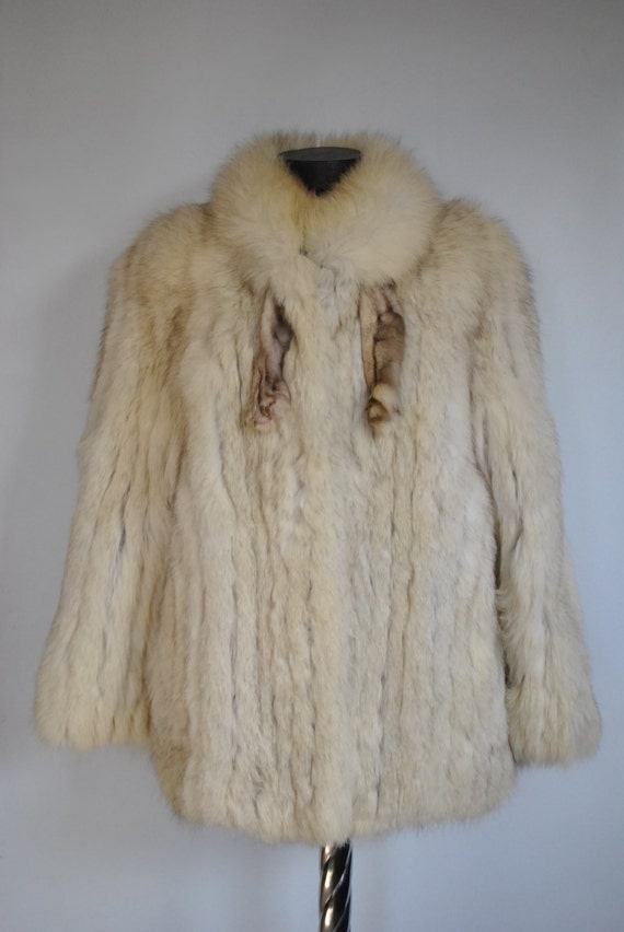 luxurious NORVEGIAN 164 Vintage fur coat FOX BLUE fur women's coat YdwqZxz