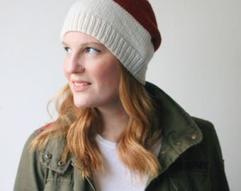Slouchy holiday knit hat, white and red merino wool beanie -- Abbotts Harbour slouch