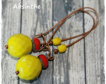 -Earrings for pierced ears-red and wasabi - summer Collection-