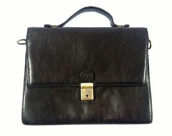 Black Leather Briefcase. Black Leather Messenger Bag. Vintage Leather Satchel. Black Messenger. Black Leather Briefcase. French Vintage