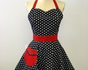 The BELLA Vintage Inspired Black and White Polka Dot with Red Full Apron